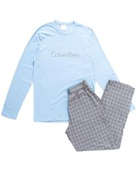 CALVIN KLEIN 205W39NYC - Pj Pant W Long Sleeved Crew Blue & Grey - Lyst