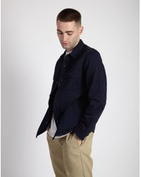The Idle Man - Button Overshirt Navy - Lyst
