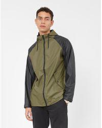 The Idle Man - Colour Block Rain Coat Black & Green - Lyst