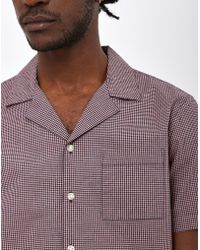 The Idle Man - Mini Check Revere Collar Shirt Pink & Black - Lyst