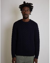 Sunspel - Long Sleeve Cable Crew Neck Sweater Navy - Lyst