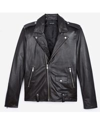 The Kooples Blouson biker cuir noir zippé