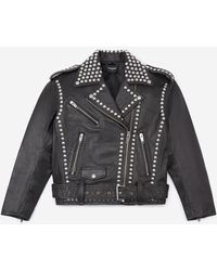 The Kooples Black Leather Jacket With Studs