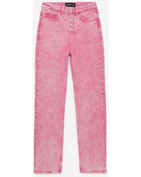 The Kooples High-waisted Pink Jeans With Visible Buttons
