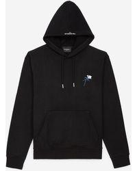 The Kooples Zwarte Sweater Capuchon En Bloemborduursel