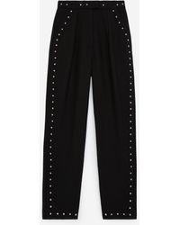 The Kooples Zwarte Wollen Pantalon Met Studs