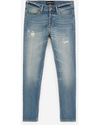 The Kooples Ripped Faded Blue Jeans