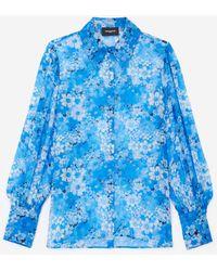 The Kooples Blauw Ml Hemd Met Bloemenprint