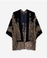 The Kooples Navy Blue Velvet Cropped Printed Kimono