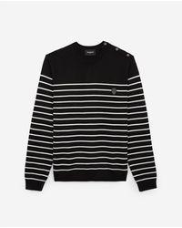 The Kooples Black And Ecru Wool Striped Sweater