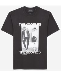 The Kooples Black Cotton T-shirt With Logo And Couple