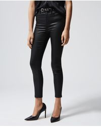 The Kooples Schwarze Stretch-Jeans in Lederoptik - Mehrfarbig