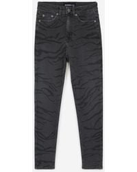 The Kooples Zwart Verwassen Jeans Hoge Taille Zebraprint - Meerkleurig