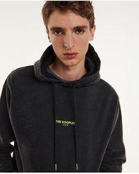 The Kooples Grijs Verwassen Sweatshirt Van Katoen Geel Logo - Zwart