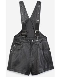 The Kooples Dungaree-style Black Leather Playsuit