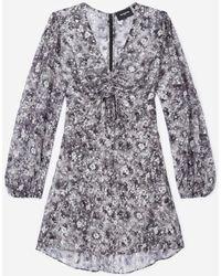 The Kooples Robe courte à décolleté froncé - Multicolore