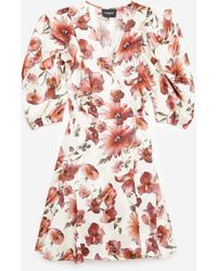 The Kooples Short Wrap Dress With Floral Print - Red