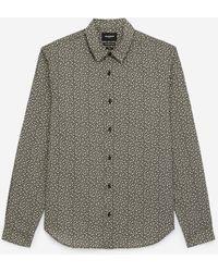 The Kooples Chemise coton noire et beige à motifs