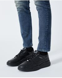 The Kooples Black Leather Trainers With Cut-outs
