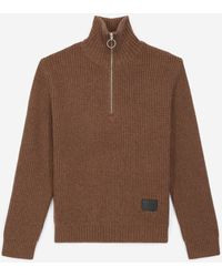 The Kooples Camel Jumper In Wool With Zipped Funnel Neck - Brown