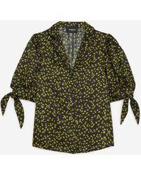 The Kooples Zwart Hemd Met Korte Mouwen En Print - Groen