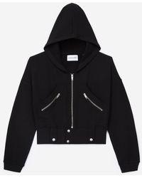 The Kooples Zwarte Sweater Met Capuchon En Ritszakken