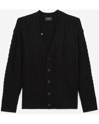 The Kooples Cárdigan lana negro detalles punto ochos