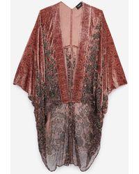 The Kooples Lange Roze Fluwelen Kimono - Meerkleurig