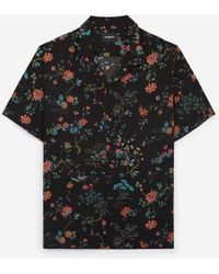 The Kooples Hemd schwarzer Hawaii-Kragen Blumenmotiv