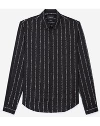 The Kooples - Flowing Black Shirt With Logo Stripes - Lyst