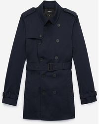 The Kooples Cropped, Navy Blue Cotton Trench Coat With Belt