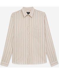 The Kooples Soepelvallend Hemd Met Beige En Roze Strepen - Naturel