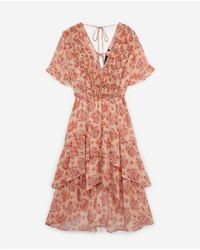 The Kooples Pink Long Printed Dress With Frills - Multicolor