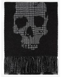The Kooples Wollen Sjaal Met Ruit En Doodshoofd - Zwart