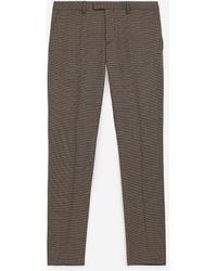 The Kooples Bruin/rood Geruite Pantalon Van Wol