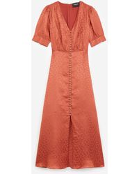 The Kooples Buttoned Jacquard Long Pink Dress - Orange