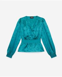 The Kooples Satiny Green Wrap Top - Blue