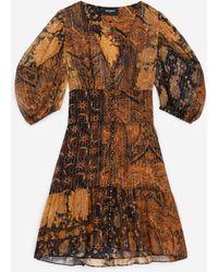The Kooples Kurzes schwarz und orange bedrucktes Kleid - Mehrfarbig