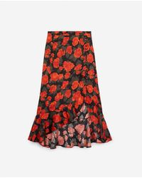 The Kooples Long Frilly Skirt With Floral Print - Red