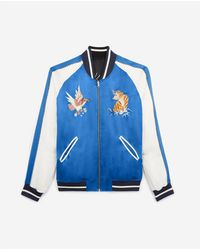 The Kooples Reversible Blue Satin Jacket With Embroidery