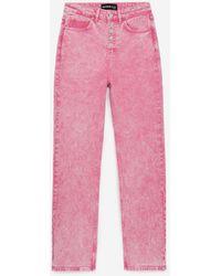 The Kooples Roze Jeans Met Hoge Taille Zichtbare Knopen