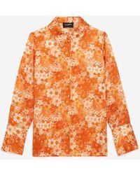The Kooples Klassisches orangenes Hemd mit Blumenprint