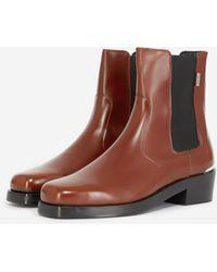 The Kooples Hoge Donkerbruine Chelsea Boots Van Leer