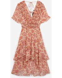 The Kooples Rosa bedrucktes langes Kleid mit Volants - Mehrfarbig