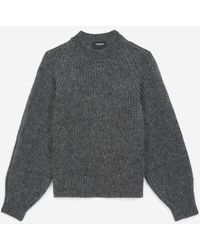 The Kooples Knit Grey Jumper With Puffed Sleeves