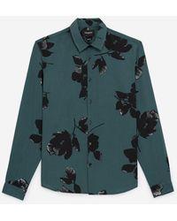 The Kooples Flowing Floral Printed Green Shirt