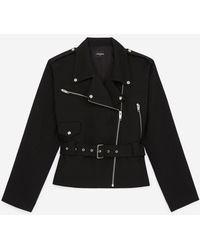 The Kooples Cropped Biker-style Black Wool Coat