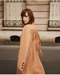 The Kooples Wool Warm Winter Coat In Camel With Fringing - Multicolour