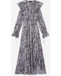 The Kooples Kleid lang schwarz Blumenprint - Grau