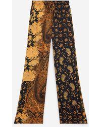 The Kooples Flowing Black And Orange Printed Pants - Multicolor